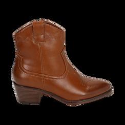 Ankle boots cuoio, tacco 5,50 cm, Primadonna, 150693111EPCUOI036, 001 preview