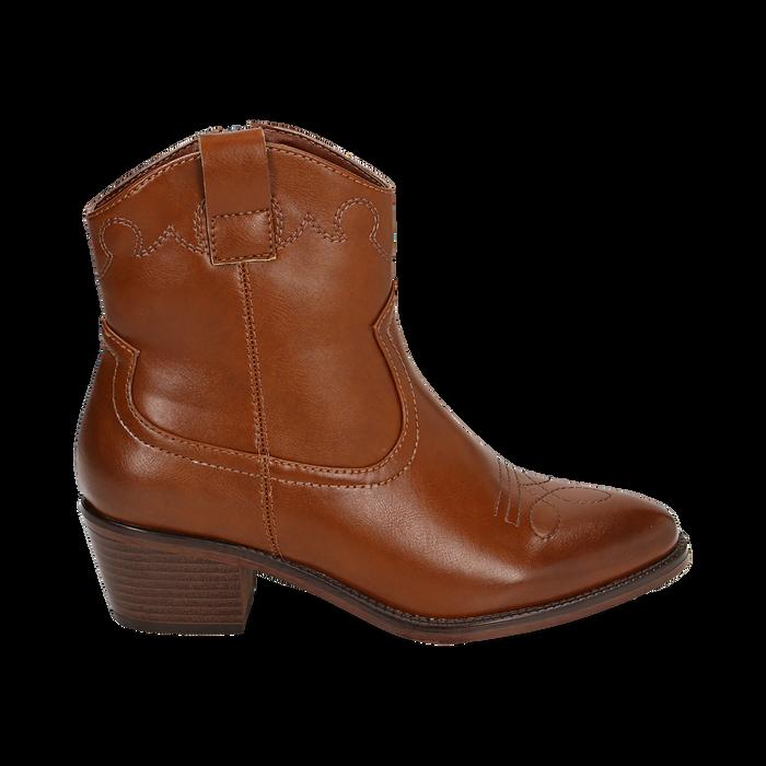 Ankle boots cuoio, tacco 5,50 cm, Primadonna, 150693111EPCUOI036
