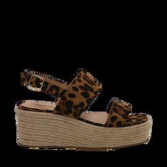 Sandali platform leopard in microfibra, zeppa in corda 7 cm , Primadonna, 132708157MFLEOP035, 001a