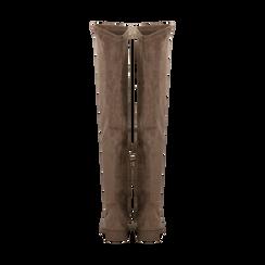 Stivali sopra il ginocchio taupe scamosciati, Primadonna, 122120631MFTAUP, 003 preview
