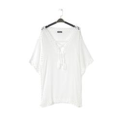 Caftano corto bianco con lavorazione macramè, Abbigliamento, 13A345078TSBIANUNI, 001a