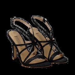 Sandali multilistino neri glitter, tacco 10,50 cm, Sandali con tacco, 132120882GLNERO035, 002a