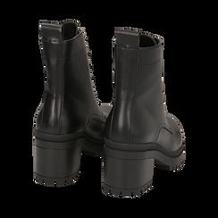 Anfibi neri in eco-pelle, tacco 6,5 cm, Stivaletti, 142828195EPNERO035, 004 preview