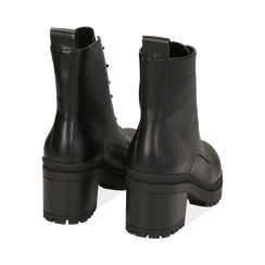 Anfibi neri in eco-pelle, tacco 6,5 cm, Primadonna, 142828195EPNERO038, 004 preview