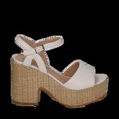 Sandali bianchi in eco-pelle con plateau, tacco 11 cm , Scarpe, 133401986EPBIAN035, 001a