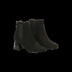 Chelsea Boots Neri Tacco con Largo Alto, Primadonna, 122707127MFNERO, 002 preview