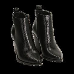 Ankle boots neri stampa vipera, tacco 8,50 cm , Primadonna, 160585965EVNERO036, 002a
