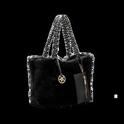 Borsa shopper nera in pelliccia con pochette e portamonete, Borse, 125702076FUNEROUNI, 003 preview