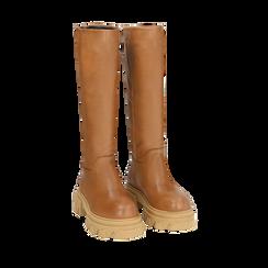 Stivali chunky cuoio in pelle di vitello, tacco 4 cm, Primadonna, 16A500050VICUOI035, 002a