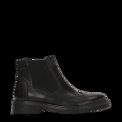 Chelsea Boots neri in vera pelle, tacco basso, 127723704VINERO036, 001a
