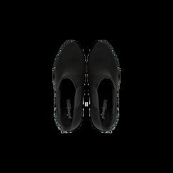 Chelsea Boots neri scamosciati, tacco 10 cm, Scarpe, 128403191MFNERO, 004 preview