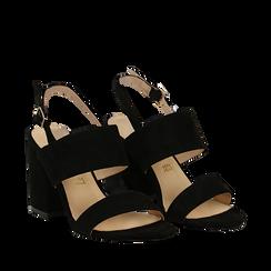 Sandali neri in microfibra con doppia fascia, tacco quadrato 9 cm, Scarpe, 132177304MFNERO035, 002a