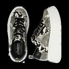 Sneakers blanc/noires imprimé python, compensée 6,50 cm , Primadonna, 167505101PTBINE035, 003 preview