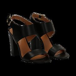 Sandali neri in eco-pelle, tacco comfort 10 cm,