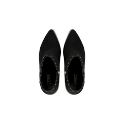 Tronchetti neri con mini-borchie, tacco 9 cm, Scarpe, 120381110MFNERO, 004 preview