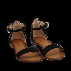 Sandali neri in microfibra, Chaussures, 154903091MFNERO035, 002a