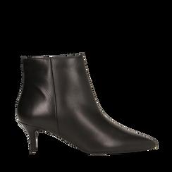Tronchetti neri in vera pelle, tacco a rocchetto 6 cm, Primadonna, 12D618402VINERO036, 001a