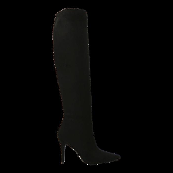 Stivali sopra il ginocchio neri scamosciati, tacco stiletto 10 cm, Primadonna, 122186701MFNERO