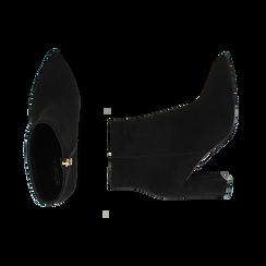 Ankle boots neri in microfibra, tacco 8,5 cm , Scarpe, 144925791MFNERO036, 003 preview