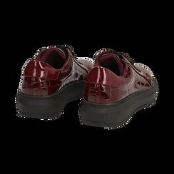 Sneakers bordeaux in vernice effetto coccodrillo, suola 4 cm , Scarpe, 142019051VEBORD036, 004 preview