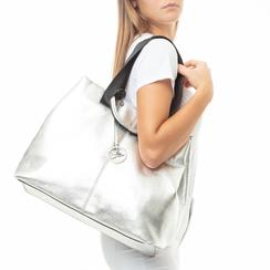Maxi-bag argento in laminato, 132384211LMARGEUNI, 002a