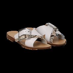 Mules bianche in vera pelle con dettagli snake skin, Primadonna, 133500088PEBIAN036, 002 preview