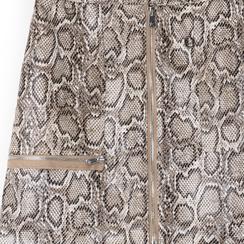 Minigonna beige in eco-pelle con zip, effetto snake skin, Saldi Estivi, 136501801PTBEIGL, 002a