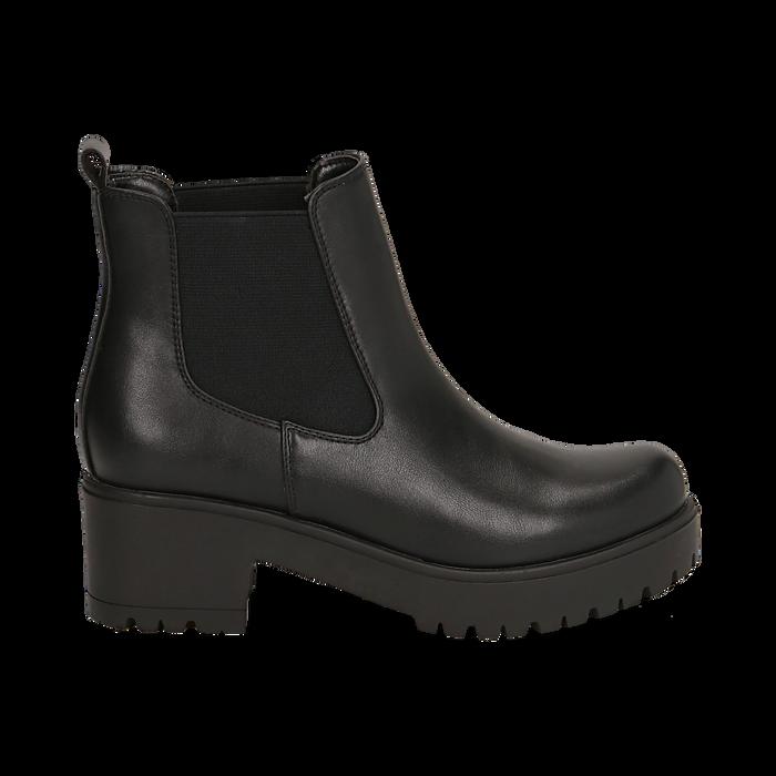 Chelsea boots neri, tacco 6 cm, Primadonna, 162808601EPNERO035
