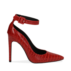 Décolleté rosse in eco-pelle effetto coccodrillo, tacco 11 cm , Scarpe, 142182061CCROSS035, 001a