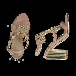 Sandalias en microfibra tachonada color nude, tacón 10 cm , OPORTUNIDADES, 152183131MFNUDE036, 003 preview