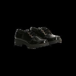 Francesine Stringate nere con stringhe in velluto, Scarpe, 120608577ABNERO035, 002