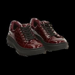 Sneakers bordeaux in vernice effetto coccodrillo, suola 4 cm , Scarpe, 142019051VEBORD036, 002 preview