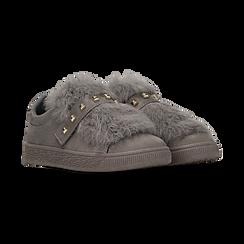 Sneakers grigie slip-on con dettagli faux-fur e borchie, Primadonna, 129300023MFGRIG038, 002 preview