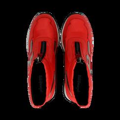 Sneakers a calza rosse in tessuto tecnico, zeppa 6 cm , Scarpe, 14A718203TSROSS036, 004 preview