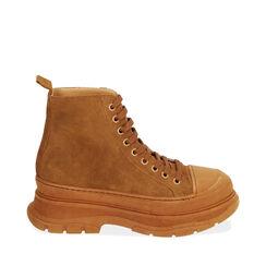 Sneakers cognac in camoscio, platform 5,5 cm , Primadonna, 18A504001CMCOGN035, 001a