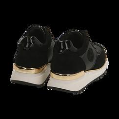 Sneakers en microfibra, cuña 4 cm , POMOCIONES, 162826712MFNERO037, 004 preview