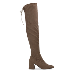 Stivali sopra il ginocchio taupe scamosciati con coulisse, tacco 6,5 cm, 122707128MFTAUP036, 001a