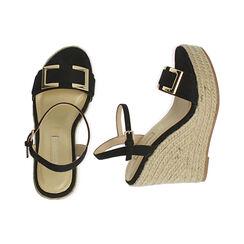 Sandali neri in microfibra, zeppa 12 cm , Primadonna, 172108248MFNERO035, 003 preview