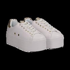 Sneakers bianche in eco-pelle dettaglio oro e suola platform, Scarpe, 132602020EPBIOR036, 002 preview