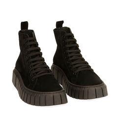 Sneakers nere in camoscio, platform 4 cm , Primadonna, 18A504002CMNERO035, 002a