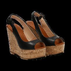Sandali platform neri in eco-pelle, zeppa in sughero 12 cm , Primadonna, 134907982EPNERO035, 002 preview