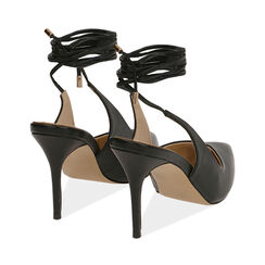 Slingback lace-up negro, tacón 9 cm, Zapatos, 172106620EPNERO036, 004 preview