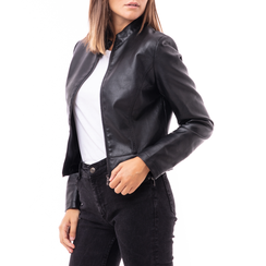 Biker jacket nera in eco-pelle, Abbigliamento, 146507261EPNERO3XL, 001a