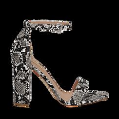 Sandali bianco/neri in eco-pelle effetto snake skin, tacco 10,50 cm, Scarpe, 132706086PTBINE035, 001a