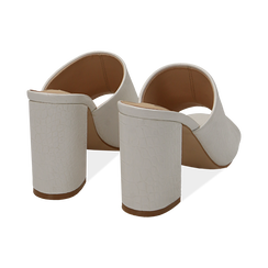 Mules bianche in eco-pelle cocco print, tacco 9 cm , Chaussures, 152783430CCBIAN036, 004 preview