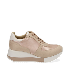 Dad shoes nude in raso, Sneakers, 152821511RSNUDE035, 001a