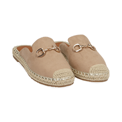 Slippers beige in microfibra, Chaussures, 154951159MFBEIG035, 002 preview