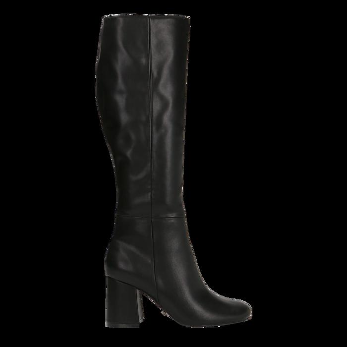 Stivali neri punta arrotondata, tacco 7,5 cm, Primadonna, 122182011EPNERO035