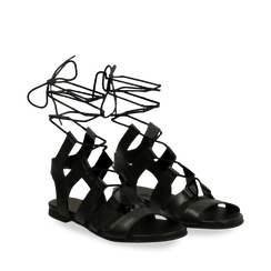 Sandali gladiator neri in vera pelle, Primadonna, 137713337PENERO036, 002a