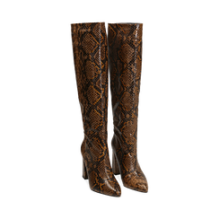 Stivali marroni in eco-pelle stampa pitone, tacco 9,5 cm , Primadonna, 142166710PTMARR036, 002 preview